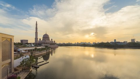 Golden Sunset Time Lapse at Putra Mosque by a lake in Putrajaya, Malaysia. Prores Full HD 1080p.