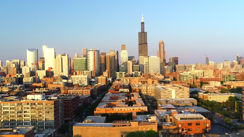 Chicago, IL / United States - August 28, 2018.  This video reveals gorgeous skyline views of downtown Chicago.