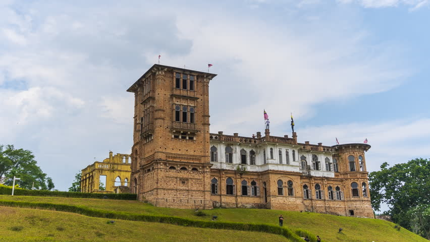 Timelapse : Kellie Castle,Ipoh,Malaysia with clear blue sky and cloud.1080HD . Prores.