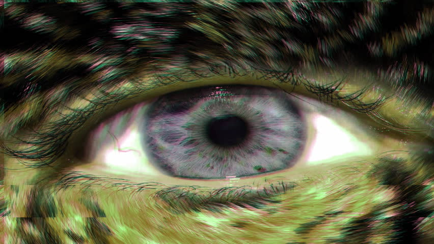Closeup of human eyed animal demon monster with glitch jitter shaky effect #1015872490