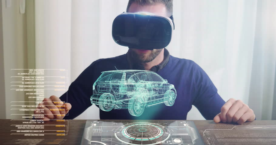 An engineer designs an electric car using sophisticated and futuristic programs with holography. Concept of: cars, future, project and augmented reality.