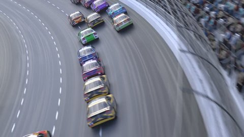 High speed racing car race. High angle camera zooming in and passing in one of the cars.
