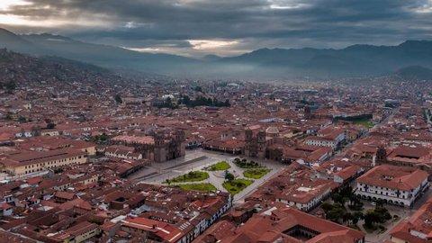 Establishing Aerial View of Cusco, Peru