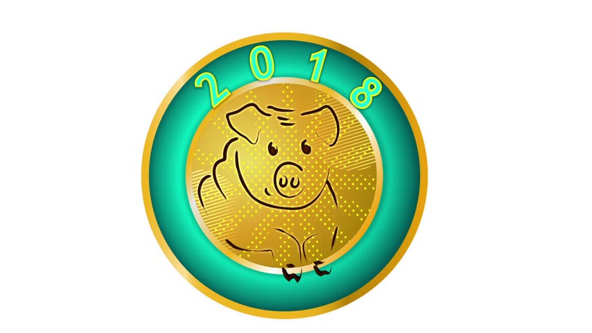 2019,pig , New Year, symbol of the year, emblem of New Year 2019, season animation, 2018 - 2019, chinese zodiac pig,alpha channel, transparent background, green background