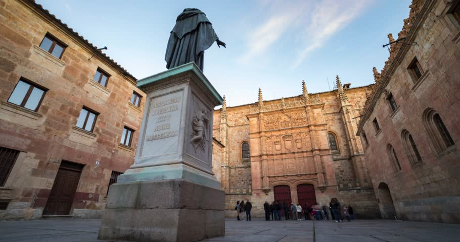 Timelapse University Of Salamanca and Fray Luis de Leon Statue
