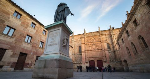 Timelapse University Of Salamanca and Fray Luis de Leon Statue