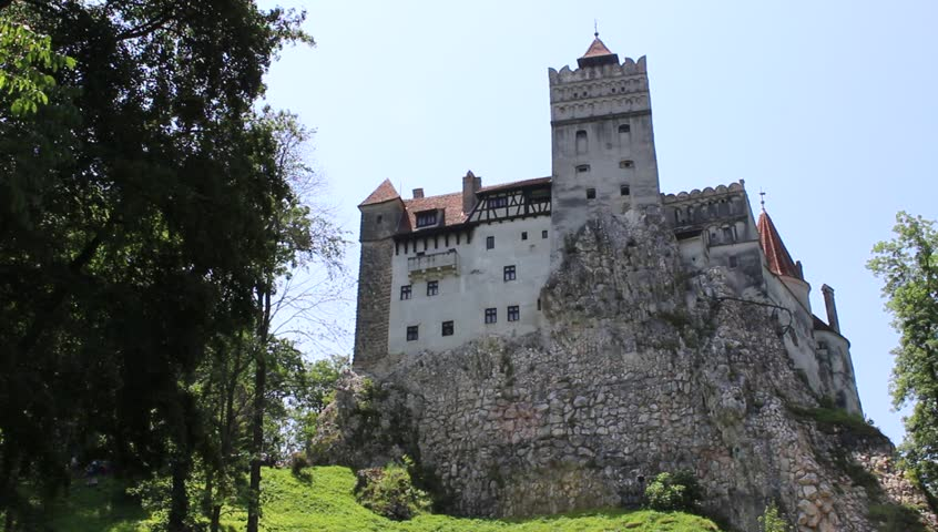 BRAN CASTLE, TRANSYLVANIA, ROMANIA - June 26, 2017: Outside view of the castle that gave rise to the legend of Dracula from the pen of Bram Stoker. HD video