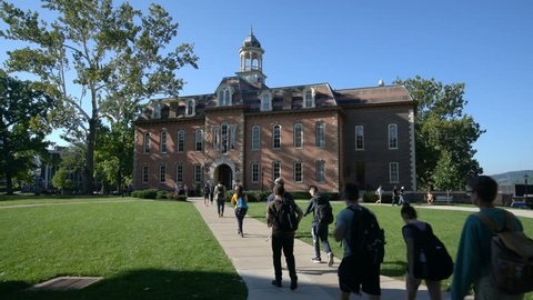 MORGANTOWN, WV - 24 AUGUST 2018: Woodburn Hall and Martin Hall at West Virginia University or WVU in Morgantown WV