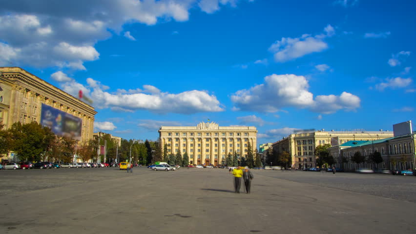 The building of the Regional Council of Kharkiv region on the on Freedom square timelapse hyperlapse. Blue cloudy sky. Ukraine | Shutterstock HD Video #1015991080