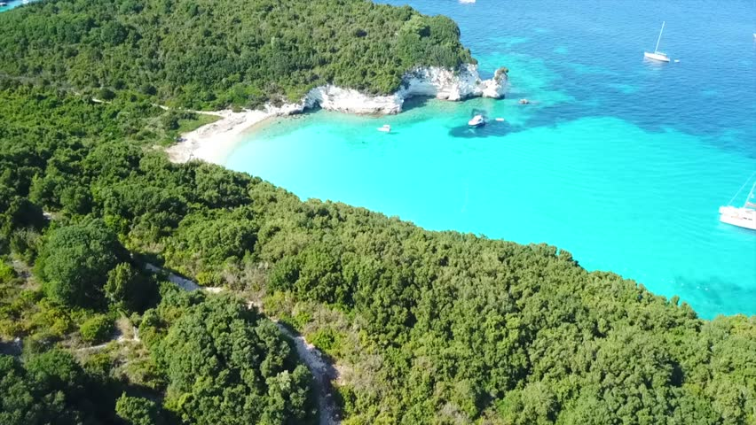 Aerial drone photo of tropical paradise turquoise beach in mediterranean destination