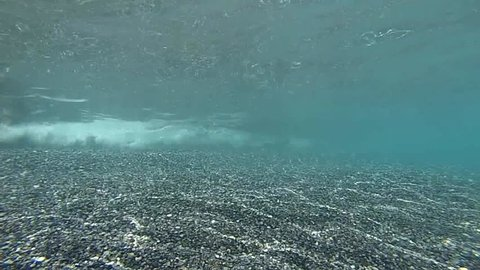 Underwater footage of the Libyan Sea, along the coast of southern Crete. Beautiful waters and seabed of Crete.Agia Roumeli beach and Zeromouri beach