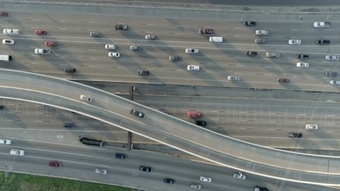 This video is about an aerial view of cars on freeway in Houston, Texas. This video was filmed in 4k for best image quality.