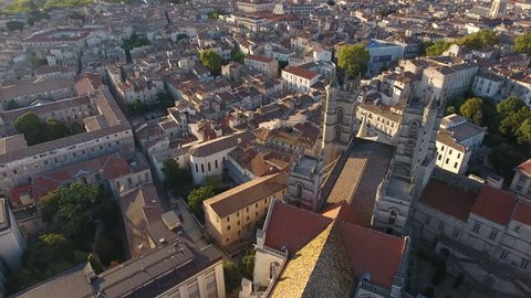 Flying around Montpellier cathedral with the old city in background. Early morning France.