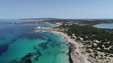 Incredible turquoise sea of the Formentera island