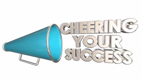 Cheering Your Success Achievement Succeed Bullhorn Megaphone 3d Animation