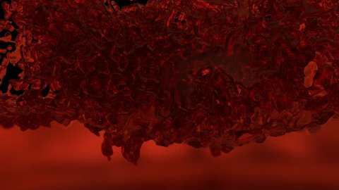 Animated three fountains of realistic red kerosene erupting and splashing filling up whole container against transparent background. Alpha channel embedded with PNG file.