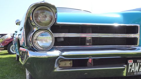 Front lights of a retro car.