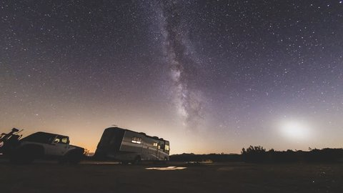CALIFORNIA, USA -September 03, 2018- RV camping under the stars in the middle of the desert of Dove Springs, California