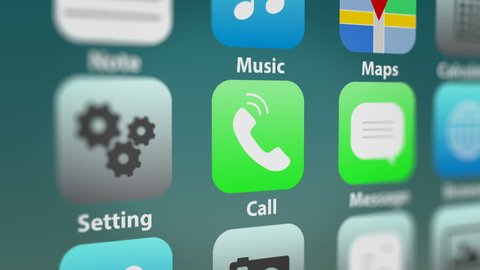 Close Up Shot of Call App Icon with Notifications on Smart Phone Screen.