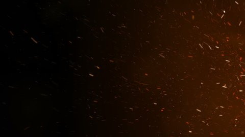 Burning Hot Sparks Rising from Large Fire in Night Sky. Side Movement. Abstract Isolated Fire Glowing Particles on Black Background Slow Motion. Looped 3d Animation. 4k Ultra HD 3840x2160.