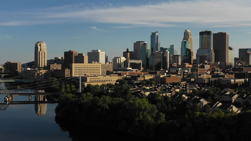 Aerial view of Minnesota's major city Minneapolis downtown city centre skyline | Shutterstock HD Video #1016219980