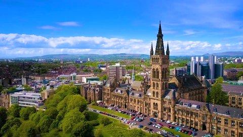 Glasgow city from the air, aerial skyline Glasgow University