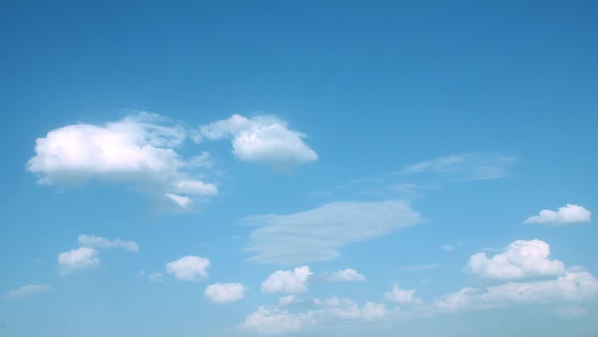 Nice white big rolling cloudscape time lapse, nature clear blue soft skies, sunny relaxing sky color. #1016227570