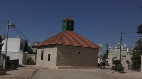 The picturesque Mosque in the Circassian village of Rehaniya in Israel. The structure is unique because of the lack of a traditional Minaret