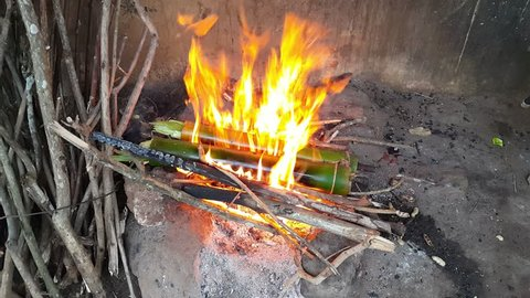 Famous tribal cuisine Bamboo Chicken from Araku valley of Visakhapatnam, Andhra Pradesh. India. Chicken Stuffed in Bamboo cooked in firewood.