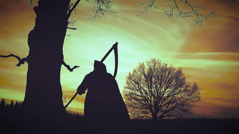 At sunset there is a grim Reaper