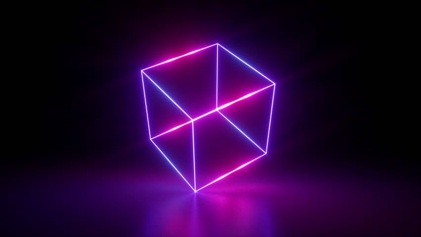 3d render, abstract geometric background, fluorescent ultraviolet light, glowing neon lines rotating, blue red pink purple spectrum, spinning around cube, modern colorful illumination, 4k animation | Shutterstock HD Video #1016279170