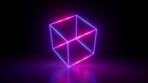 3d render, abstract geometric background, fluorescent ultraviolet light, glowing neon lines rotating, blue red pink purple spectrum, spinning around cube, modern colorful illumination, 4k animation