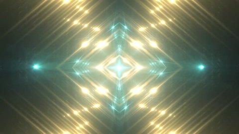 VJ Fractal gold kaleidoscopic background. Background motion with fractal design. Disco spectrum lights concert spot bulb.
