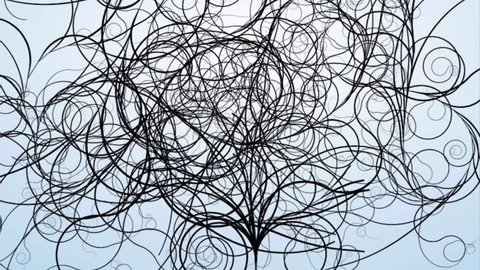Animated motion graphics pen drawing flowing ornate curly hair lines
