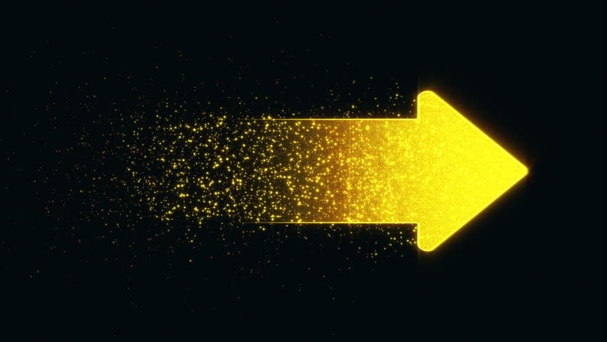 The golden arrow rotates and fly | Shutterstock HD Video #1016344900