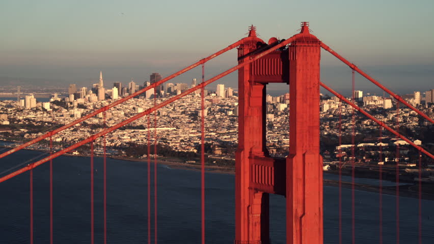 San Francisco Circa-2016, daytime aerial view of the Golden Gate Bridge and city skyline | Shutterstock HD Video #1016371120