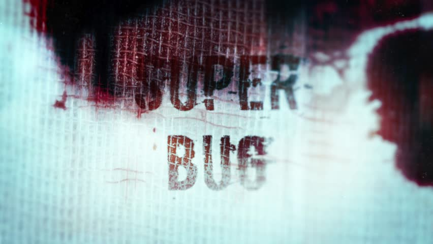 3D composition of a Blood soaked bandage and the text Super Bug.