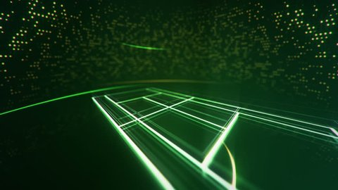 Abstract animation drawing of tennis field shape from neon line and flickering particles on background.