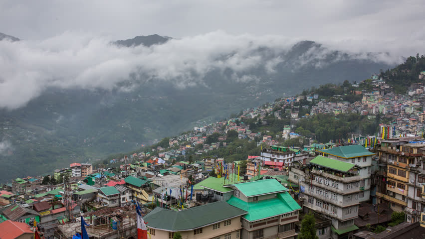 4K Time lapse of the cloudy day in Gangtok city, capital of Sikkim state, Northern India.