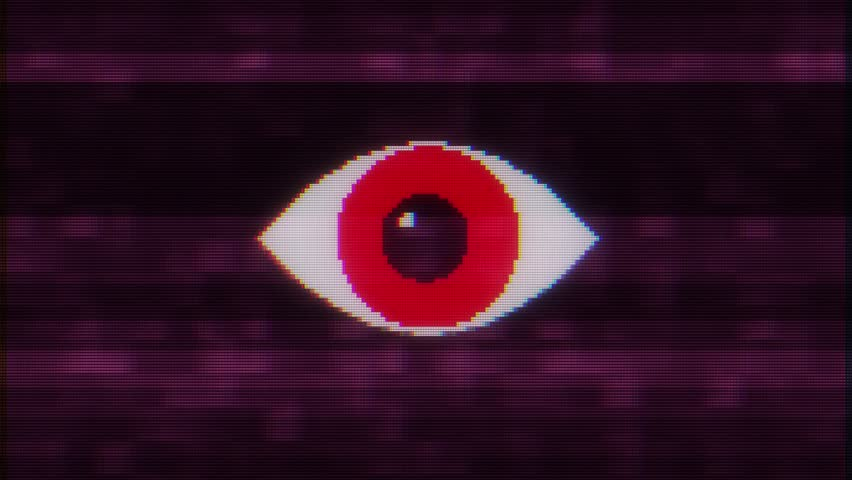Pixel eye symbol on glitch lcd led screen display background animation seamless loop New quality universal close up vintage dynamic animated colorful joyful cool video footage | Shutterstock HD Video #1016503420