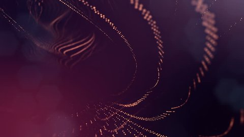 Dark composition with oscillating luminous golden red particles that form wavy surface. Smooth animation looped. Abstract background of glowing particles with shining bokeh sparkles. science fiction14