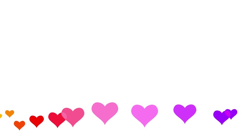Animated colorful hearts moving on white background. Romantic backdrop animation for Valentines day.