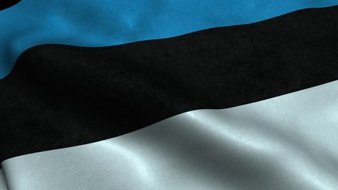 Photorealistic 4k Close up of estonia flag slow waving with visible wrinkles and realistic fabric. A fully digital rendering, 3D Animation. 15 seconds 4K, Ultra HD resolution estonia flag animation.