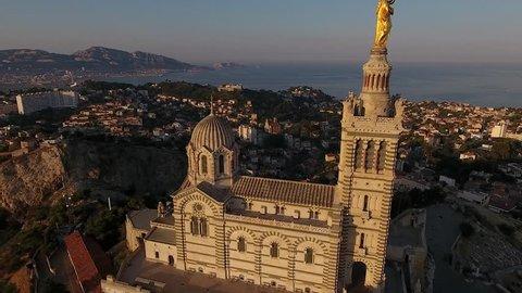 "Aerial view of the basilica "" Notre Dame de la Garde"" in Marseille France"