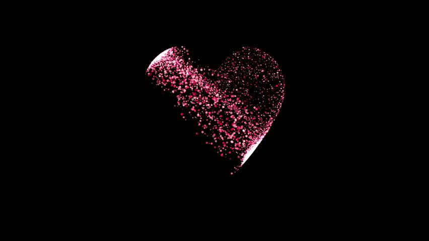 holiday video, particles randomly fill the heart shape