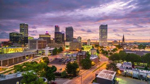 Tulsa, Oklahoma, USA downtown city skyline at twilight.