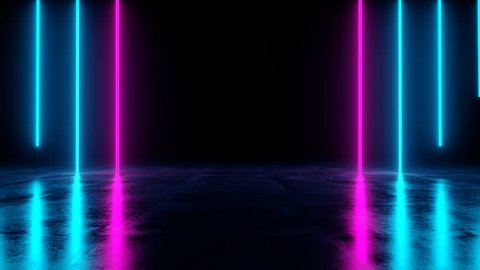 Futuristic Sci Fi Dark Empty Room With Blue And Purple Neon Glowing Line Tubes On Grunge Concrete Floor With Reflections 3D Rendering Video
