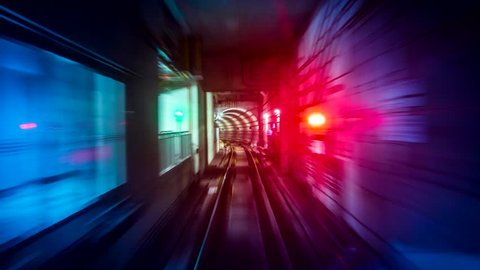 Fast Speed Subway Train Moving Reverse Looping 4K Time Lapse