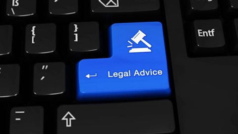 384. Legal Advice Rotation Motion On Blue Enter Button On Modern Computer Keyboard with Text and icon Labeled. Selected Focus Key is Pressing Animation. xxxxx Concept