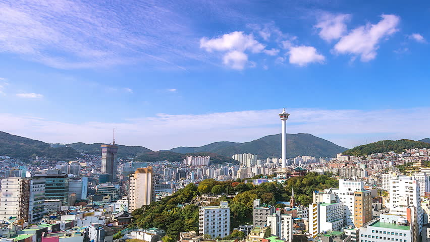 4K.Time lapse Busan tower in the city South Korea | Shutterstock HD Video #1016734030